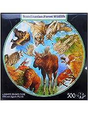 N / A James Hamilton rund 500 T. Pussel 50 cm Ø älg räv varg björn uggla hjort Luchs Scandinavian Forest Wildlife 0515