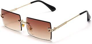 Rectangle Sunglasses For Women Men Trendy Rimless Vintage...