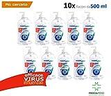 MEDICALMONO - 10 Gel Mani Igienizzante - Battericida - Virucida compresi VIRUS influenzali - Senza Risciacquo PMC 500 Ml