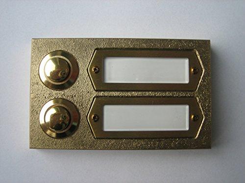 Messing Klingel, Klingelplatte leicht strukturiert, Klingeltaster, 2-reihig
