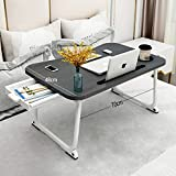 MGsten Laptop Table, XXL Portable Lap Desk with Cup Holder, Foldable Desk with Storage Drawer, Ergonomic Standing Lap Table Tray in Couch/Office(27.5x18.9x11)
