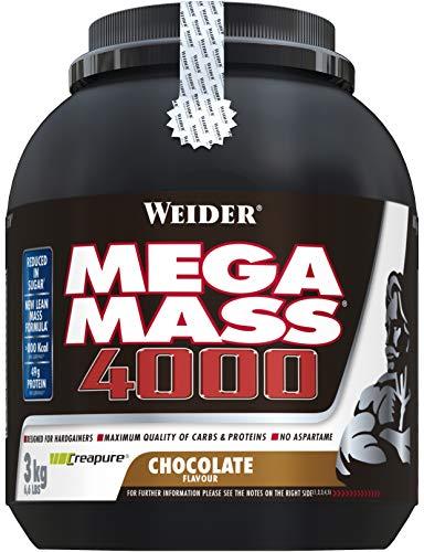 Weider Mega Mass 4000 Weight Gainer Shake, met Eiwitten en Creatine, Chocola Smaak, voor Spieropbouw, 3 kg