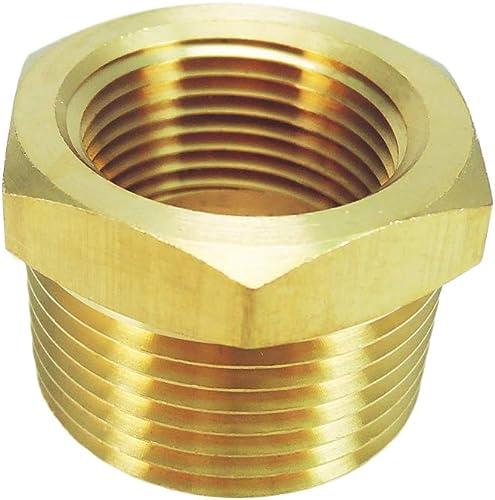 "Nigo Brass Pipe Fitting, Hex Bushing, Nominal Pipe Size: 1"" NPT Male x 3/4"" NPT Female"
