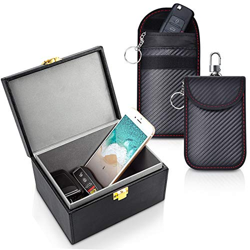Samfolk Keyless Go Schutz Autoschlüssel Box,Auto Key Faraday Box +2 Pack Faraday Tasche