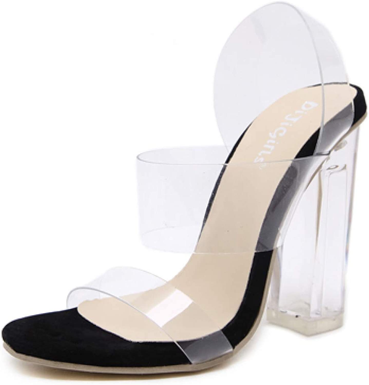T-JULY Women's Sandal shoes Ladies Sexy Transparent Peep Toe shoes Clear Square Heels Casual shoes for Summer