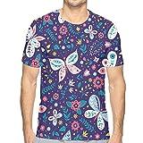 Hombres de Manga Corta Colorido Folk Vector de Patrones sin Fisuras con Mariposas y Flores Camiseta de algodón M