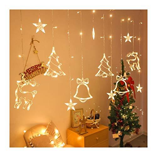 MUZIWENJU Weihnachtsbeleuchtung LED 3.5m Vorhang Licht Girlande Stern Bell Dekor for Zuhause 220V Lichterketten Outdoor/Indoor Festival String Licht (Leuchtfarbe : Warm White Style1)