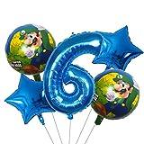 ENXI Globos 5 UNIDS Super Mario Globos 30 Pulgadas Número de niño Chica Fiesta Decoraciones Cumpleaños Mario Luigi Bros Mylar Globos Decoración ( Color : Blue )