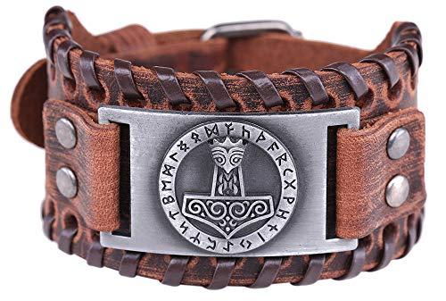 Vintage Amulett gotischen nordischen Mythos Thors Hammer Wikinger Runen keltischen Irish Knot braun Leder Gürtelschnalle Armband (braunes Leder, antikes Silber)