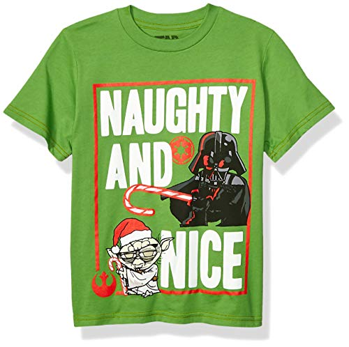Star Wars Boys' Big Ugly Christmas T-Shirt, Naughty/Green, Medium