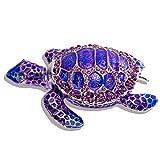 Sea Turtle Figurine Trinket Boxes Hinged Collectible Crystal Bejeweled Decorative Turtle Animal Jewelry Holder Box(Purple)