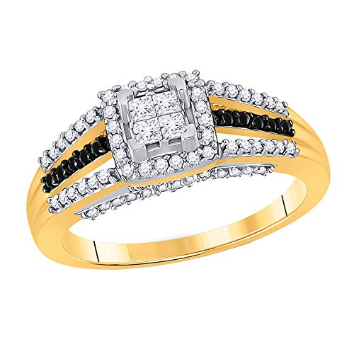 Dazzlingrock Collection - Anillo redondo de diamante negro de 0,51 quilates (1/2 quilates), oro amarillo de 10 quilates