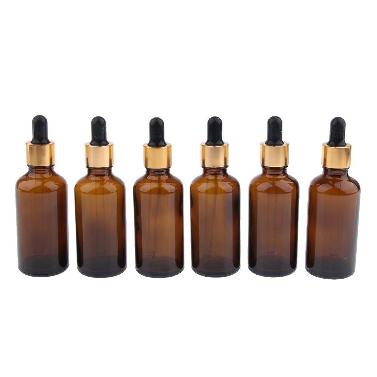 ブリッジ合図薄めるIPOTCH 6本 遮光ビン 精油瓶 香水瓶 空ボトル スポイト ガラス 詰め替え マルチ容量 - 50ml