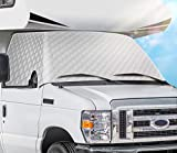 EXCELFU RV Windshield Cover Compatible with Ford Class C 1997-2020 RV Front Window Cover RV Motorhome Windshield Cover Sun Shade Cover Snow Cover with Mirror Cutouts