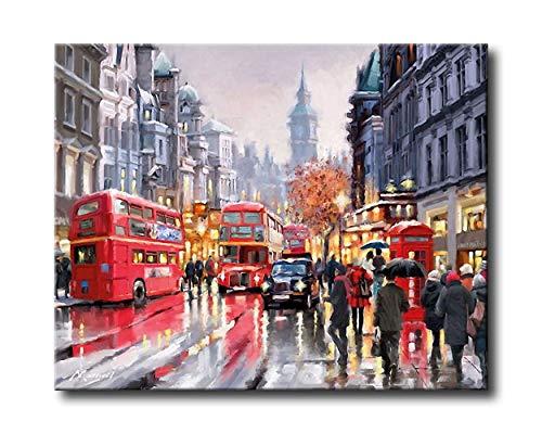 Ölgemälde für Erwachsene, Malen nach Zahlen, Acrylmalerei, romantischer Bus, 16 x 20 Zoll, Rahmenlos