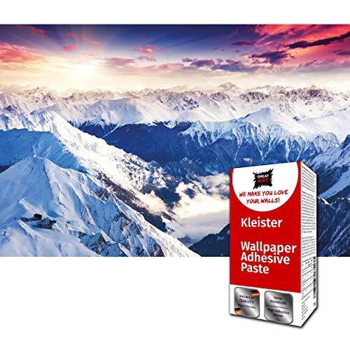 GREAT ART Foto Mural Imagen Panoramica de los Alpes 336 x 238 cm - Papel Pintado 8 Piezas incluye Pasta para pegar