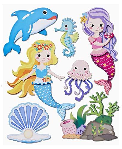 Hobbyfun 3D Sticker XXL Meerjungfrau, Bogen 30 x 30 cm