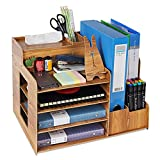 ISDIR Wooden Desktop Organizer, 4 Tier Wood Table Top Storage Box with Drawer, Multifunctional Desktop Storage Organizer for Pencils, Documents, Books, Office Supplies (Nature)