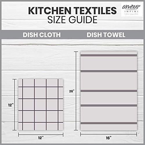 AMOUR INFINI Cotton Terry Kitchen Dish Cloths | Set of 8 | 12 x 12 Inches | Super Soft and Absorbent |100% Cotton Dish Rags | Perfect for Household and Commercial Uses | Gray