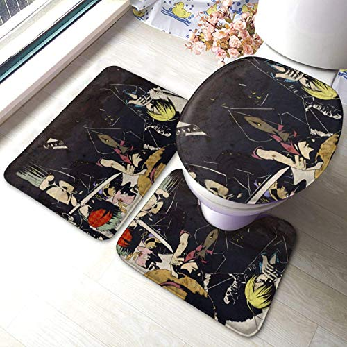 FETEAM Juego de Alfombrillas de Baño de 3 Piezas Anime De Una Pieza Antideslizantes Absorbente Alfombra de Contorno y Cubierta de Tapa