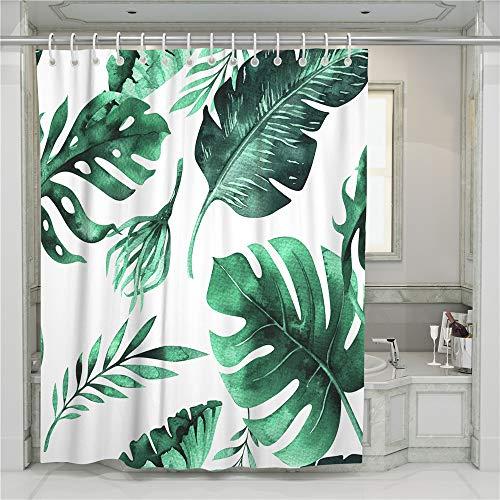 Chickwin Duschvorhang Wasserdicht Anti-schimmel, Waschbar 3D Pflanze Monstera Grünes Blatt Druck Polyester Bad Vorhang mit 12 Duschvorhangringe für Badezimmer Decor (Bananenblatt,150x180cm)