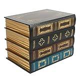 Baalaa Caja de libros falsos accesorios de almacenamiento vintage libro joyería almacenamiento embalaje estudio libro adornos madera antiguo decorativo