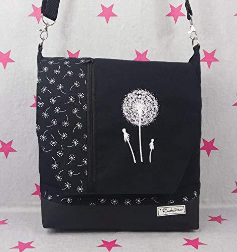 pinkeSterne ☆ Handtasche PUSTEBLUME Umhängetasche Vertica Leder Schwarz Weiß