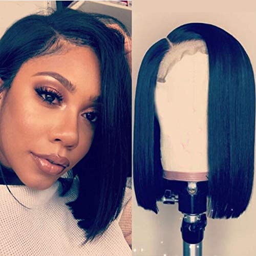 Amazon Com Short Bob Wigs For Black Women Human Hair Lacefront Wigs With Baby Hair Right Side Part Natural Black Gluless Full Lace Wig American African 130 Density Full Lace Wig 12inch Beauty