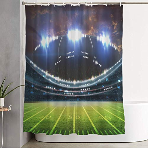 "Bathroom Fabric Shower Curtain Fan Green Activity Football Sports Kick Grass Recreation Soccer 3D Arena Field Ball Best Bleachers Curtains Durable Waterproof Bath Curtain Set with Hooks 60"" x 72"""