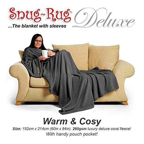 CKB LTD Gris Snug Rug Deluxe Couverture a Manche | Authentique SnugRug en Polaire la Couverture avec Manches pour Adulte | 260gsm Tissu Doux de Molleton de Corail de et Poche de Poche
