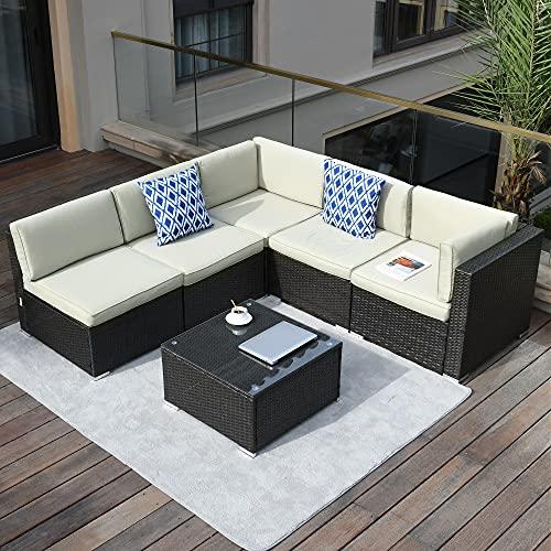 YITAHOME 6 Pieces Patio Furniture Set, Outdoor Sectional Sofa PE Rattan Wicker Conversation Set...