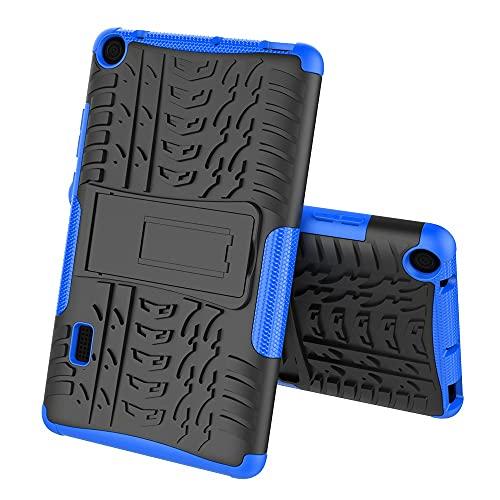 Tablet PC Case Cubierta de la tableta para Huawei MediaPad T3 7,0 pulgadas Textura de neumáticos TPU + PC Funda protectora con soporte de mango plegable Tablet contraportada ( Color : Dark blue )