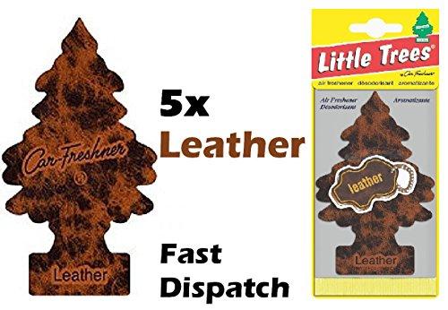 Duftbäumchen von Little Trees aus der Reihe Magic Tree, Lufterfrischer mit Leder-Duft fürs Auto, 5Stück