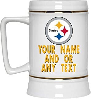 Custom Personalized Pittsburgh Steelers Beer Mug Steelers Logo Beer Stein 22 oz White Ceramic Beer Cup NFL AFC Football Perfect Gift Idea for any Steelers Fan