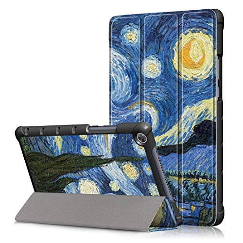 YANGJ Modelo Estrellado del Cielo Dibujo Coloreado Horizontal Flip Funda de Cuero for Huawei MediaPad M5 Lite, con Soporte Plegable de Tres