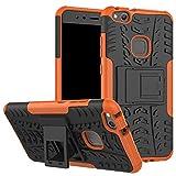Huawei P10 Lite Funda,LiuShan Heavy Duty silicona Híbrida Rugged Armor soporte Cáscara de Cubierta Protectora de Doble Capa Caso para Huawei P10 Lite Smartphone(Con 4 en 1 regalo empaquetado),Naranja