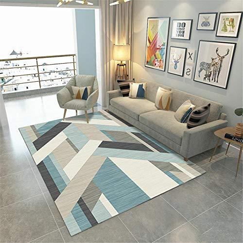 AU-SHTANG alfombras baño Diseño de patrón Abstracto geométrico Azul Claro Alfombra Mecanismo...