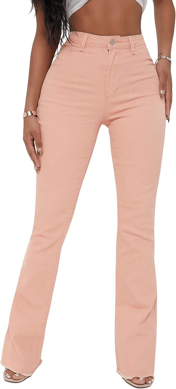 SweatyRocks Women's Raw Hem Jeans High Rise Flare Leg Denim Pants with Pocket