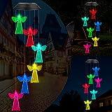 Fohil Carillón de Viento Solar, Campanilla de Viento Cambio de Color LED Campanas de Viento Impermeable, Carillones de Viento con Seis Ángel para Interiores, Exteriores, Jardín, Decoración del Hogar
