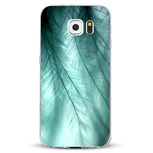 Pacyer kompatibel mit Galaxy S7 / S7 Edge Hülle Silikon TPU Handyhülle Liquid Crystal Clear Case Transparent Feather Design Premium Scratch Resistant Anti-Shock Cover (6, Galaxy S7)