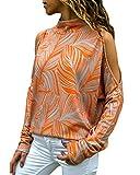 YOINS Camiseta Mujer de Manga Larga Blusa con Hombros Fríos Camisa Casual Camisetas a Rayas Cuello Redondo Imprimiendo Pullover Naranja-Nuevo EU46