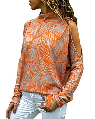 YOINS Damen Schulterfrei Oberteil Langarmshirt Gestreift Pulli Hemd, Orange-aktualisierung, Gr.- S/ 36-38 EU
