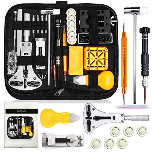 Watch Repair Kit, Watch Case Opener Spring Bar Tools, Watch Battery Replacement Tool Kit, Watch Band Link Pin Tool Set with Carrying Case and Instruction Manual
