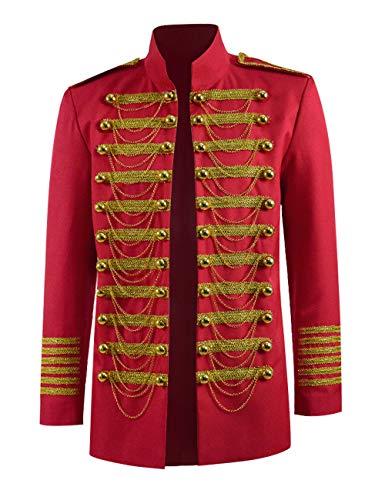 Men Marching Band Costume Jacket Military Parade Jacket Vintage Soldier Costume Luxury Jacket (Red, US Men-XXXL)
