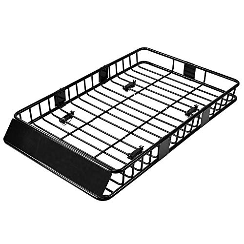 SUNCOO 64 Inch Universal Roof Rack Cargo Basket Carrier with 250lb Capacity Top Luggage Holder with...