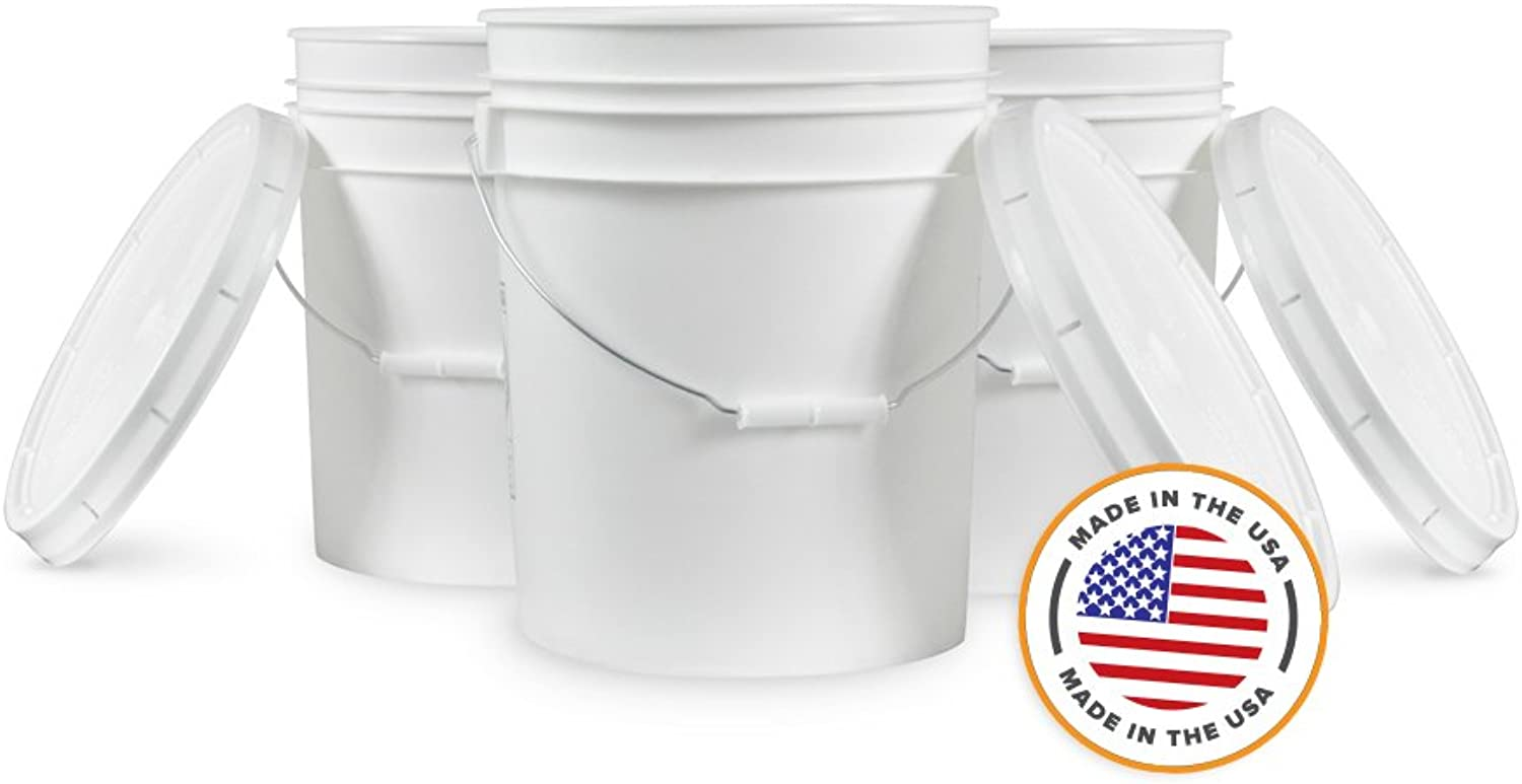 5 Gallon Weiß Bucket & Lid - Set of of of 3 - Durable 90 Mil All Purpose Pail - Food Grade - Contains No BPA Plastic by Living Whole Foods B00A1LUFK8 11285c