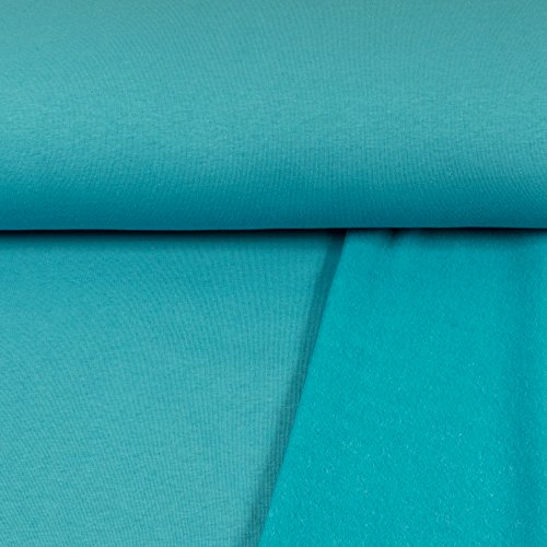 Sweatshirt Stoff Uni türkis Sweat weiche angeraute Rückseite einfarbig kuschelig Meterware - Preis Gilt für 0,5 Meter