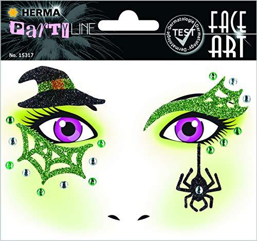 HERMA 15317 Face Art Gesicht Aufkleber Glitzer Sticker für Fasching, Karneval, Halloween, dermatologisch getestet, Hexe