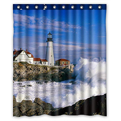 Lighthouse Beautiful City And Town Scenery Sea Wave White Cloud Waterproof Polyester Fabric Shower Curtain 60X72 inch
