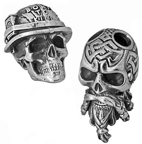 Set of 2 Paracord Skull Beads - Metal Custom Knife Lanyard Bead - Handmade Paracord Accessories (#1)